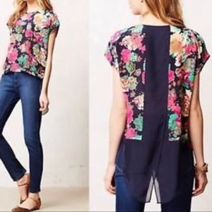 Anthropologie Komal Blouse By Maeve 100% Silk Sz 4